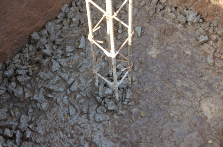 Column footing and rebar
